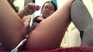 4 Foot tall asian has field day with BOTH holes